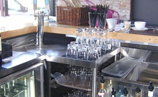 Custom Stainless Steel Countertop and Bar Storage