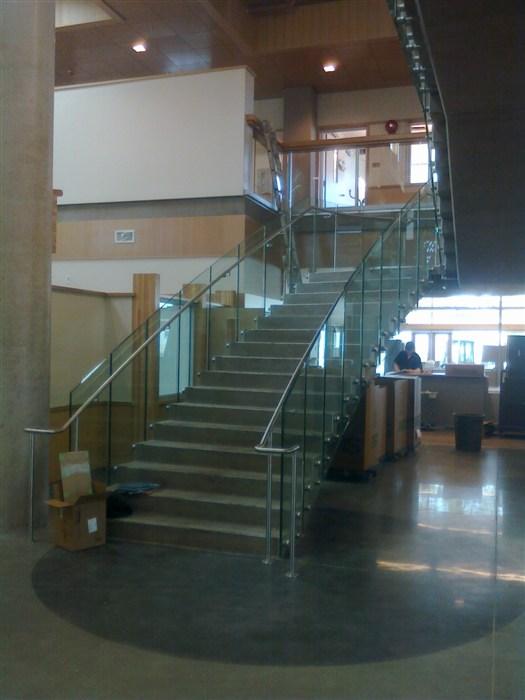 Vancouver Island University custom Stainless Steel handrail.