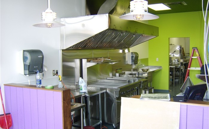 restaurant stainless steel cooking line