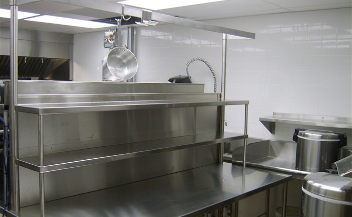 Stainless steel prep counter